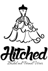 Hitched Bridal and Formal Wear Logo - With Dress - Vertical